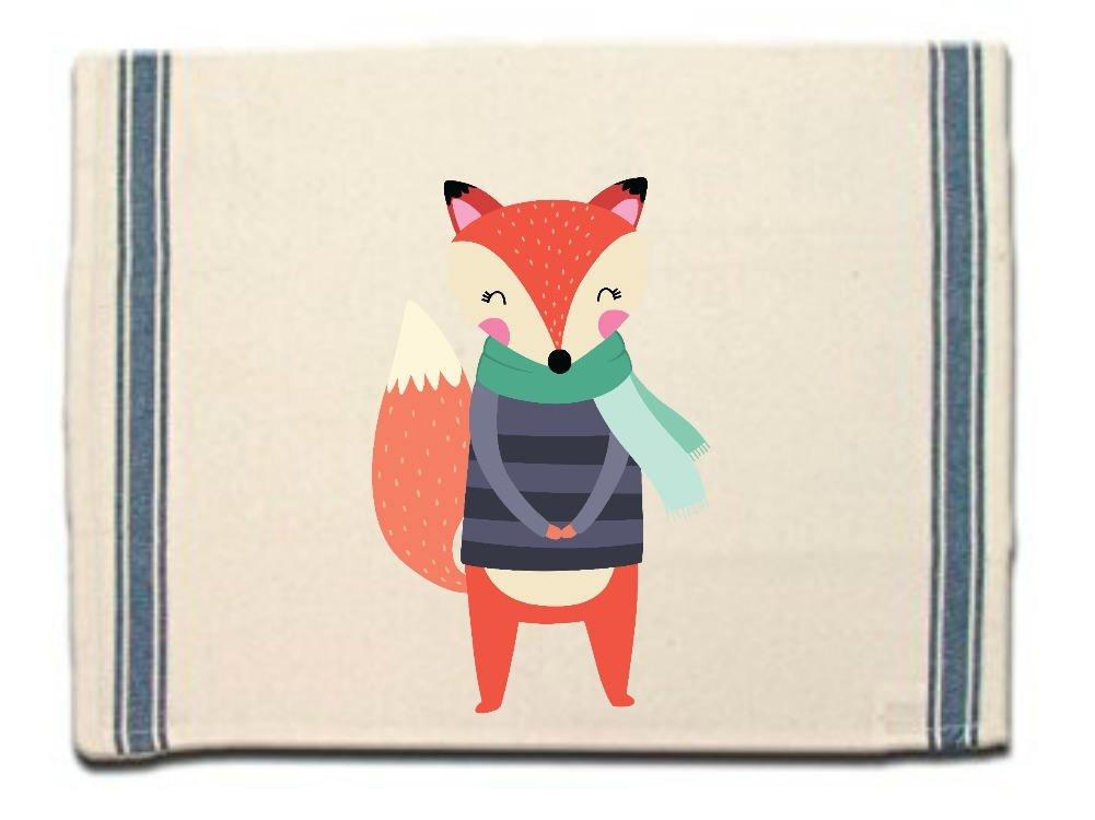 Fox in Scarf & Sweater Kitchen Towel, Dish Towel,Tea Towel,Flour Sack Material,Woodland Animals Dish Towels,Flour Sack Kitchen Towel,Dish Cloth