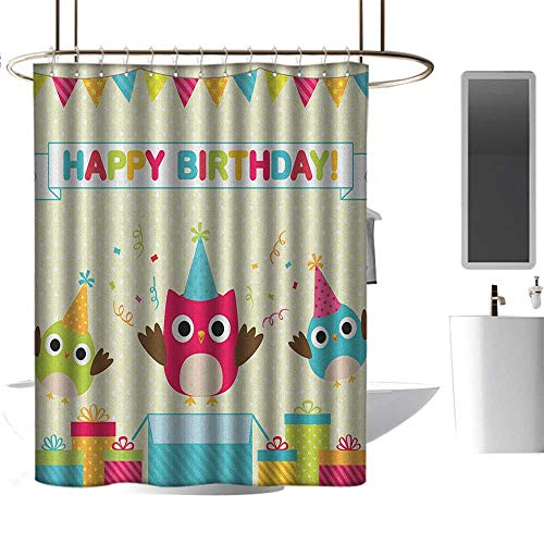Door Panel Retainer Box - Qenuan Colorful Shower Curtain Kids Birthday,Happy Chubby Baby Owls Flags Box on Polka Dots Backdrop Celebration Print, Multicolor,Metal Rust Proof Grommets Bathroom Curtain 47