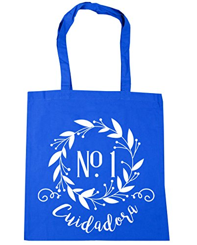 Hippowarehouse Floral Decoration Caretaker Number One Beach Bag With Handles Shopping Bag 42cm X 38cm For Fitness 10 Liters Capacity Cornflower Blue