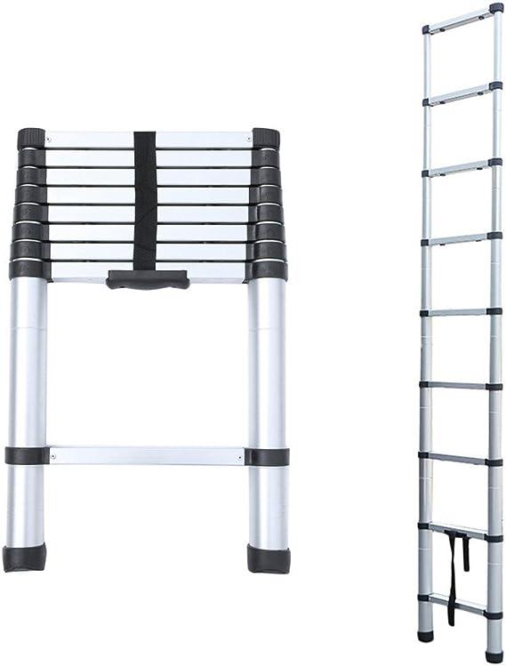 blackpoolal Escalera telescópica aluminio – Escalera extensible Escalera escalera multiusos (2,6 m – 4.4 M (8.5ft – 14.5 ft) 150 kg Resistencia (Plata): Amazon.es: Bricolaje y herramientas