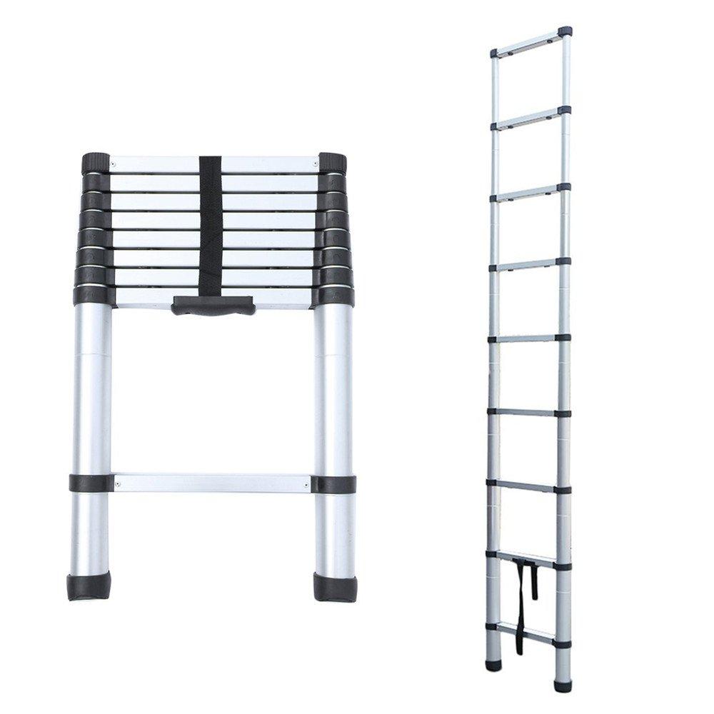 Blackpoolal Teleskopleiter Aluminium Klappleiter Ausziehleiter Mehrzweckleiter haushaltsleiter bis 150 kg (Alu Silber) (2, 6M)