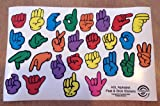 ASL American Sign Language Fingerspelling Stickers - Restickable Reusable Repositionable