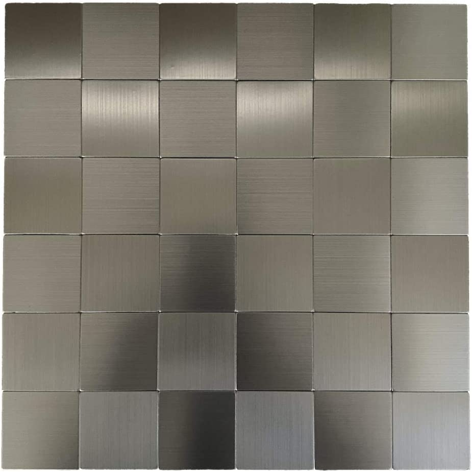 12x12 Peel and Stick Brushed Aluminum Mosaic Backsplash//Wall Tile 1 Sheet//1 SQFT