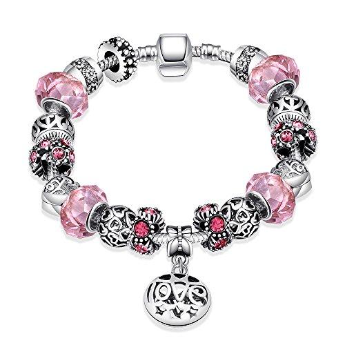 Naivo Designer Inspired Crystal Snake Chain Murano Glass Beads Charm Bracelet, Women of the World, Pink Topaz (Glass Topaz Cut)