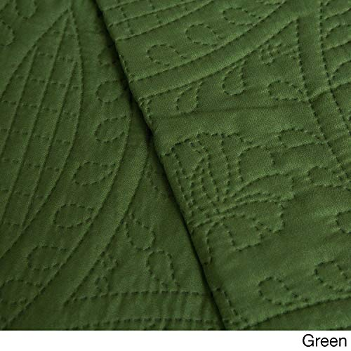 Cozy Fleece Fashionable Solid Pinsonic Quilt Set, Green, Twin (Quilt Dark Green)