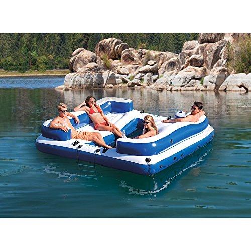 Intex Oasis Island Inflatable 5 Seater Lake River Floating Lounge Raft   58293Ep