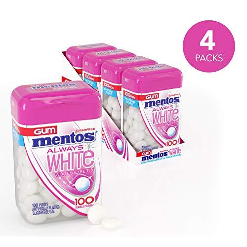 Mentos Mentos Gum Always White, Bubble Fresh, 4 Bottles, 100 Pieces Each (400 Pieces Total)
