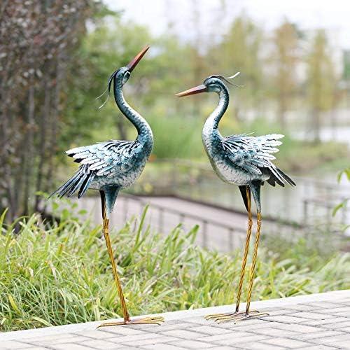chisheen Crane Garden Statues Outdoor Metal Yard Art Statues and Sculptures,Blue 2-Pack