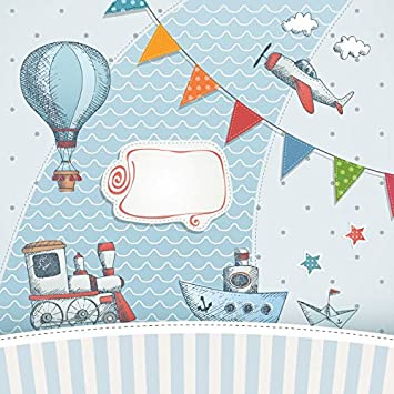 Yeele 6.5x6.5ft Cute Cartoon Train Backdrop Kids Birthday Party Photography Background Happy Animals Decoration First 1st Birthday Banner Cake Table Girl Kid Portrait Photo Shoot Props