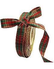 Kerst Geruite Jute Lint, 25 Meter Spoel Met Gelaagde Gouden Rand, Stoffen Lint Voor Kerst Ambachten Decoratie, Bloemen Bogen Ambacht