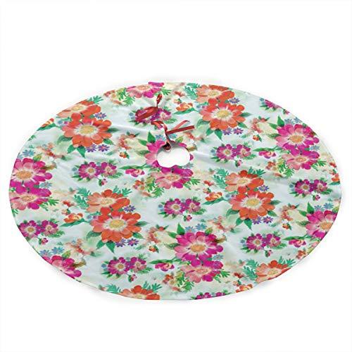 Grtswp Luxury Soft Snow Christmas Tree Skirt Bright Blooms Printable Holiday Print Tree Skirt Holiday Ornament (Diameter :90 Cm/35.5 Inch) ()