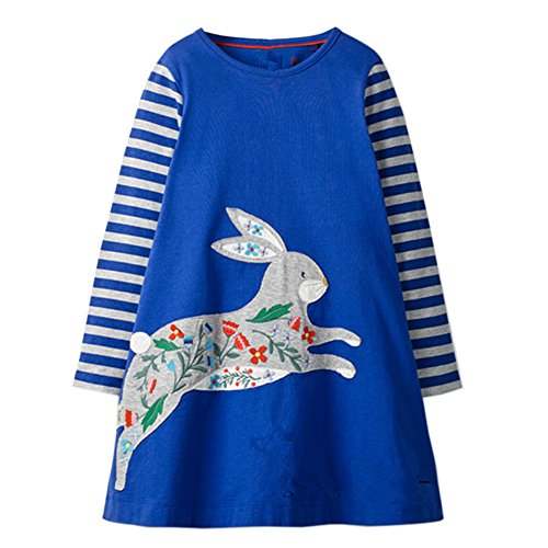 Little Girls Dress Casual Cotton Kids Unicorn Appliques Striped Jersey Dress (6T, Rabbit) ()