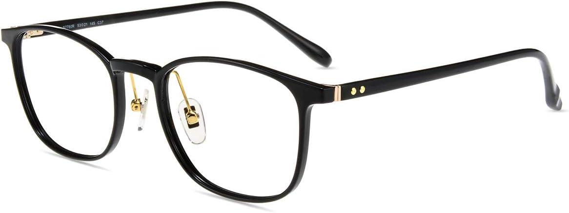 Firmoo Gafas Luz Azul para Mujer Hombre, Gafas Filtro Antifatiga Anti-luz Azul y contra UV400 Ordenador de Gafas Montura TR90 para Protección los Ojos, S7760 Negro