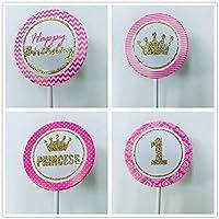 JeVenis 24 piezas de decoraciones para cupcakes de princesas ...