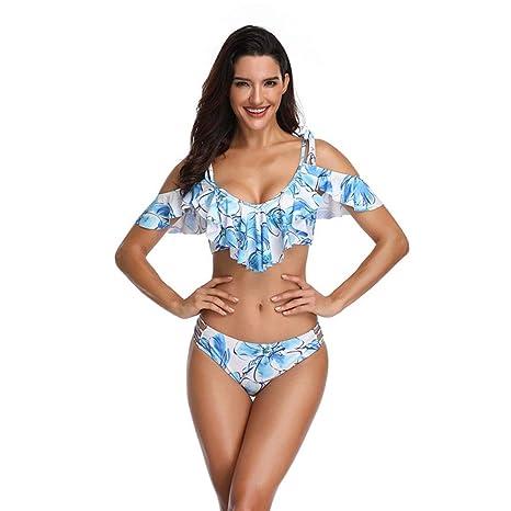 MQW Traje De Baño De Bikini con Cuello Alto Y Falda De Mujer Sexy ...