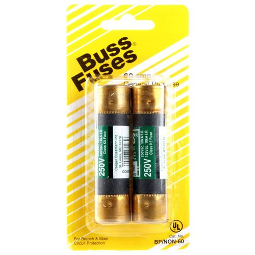 Cooper Bussmann BP/NON-60 60-Amp One-Time Cartridge Fuse Non-Current Limiting Class K5 250V UL Listed Carded, 2-Pack