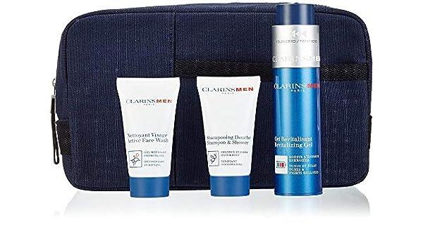 Clarins Men Hydratation - Set con 4 piezas (Gel Revitalizante 50 ml, Champú/Gel Ducha 30 ml, Limpiador Espumoso 30 ml, estuche): Amazon.es: Belleza