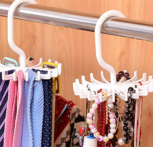 BigOtters 4PCS 5.3 Inches Large Size White 360 Degree Rotating Scarf Hanger Adjustable Twirl Tie Rack Tie Belt, Multipurpose Organizer, Hook Ties Scarf for Closet Storage