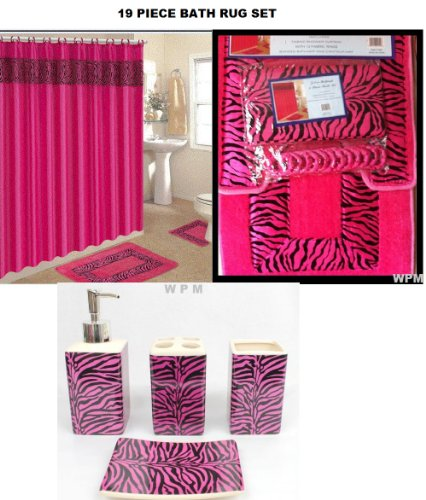 - 19 Piece Bath Accessory Set Pink Zebra Bathroom Rugs & Shower Curtain & Accessories