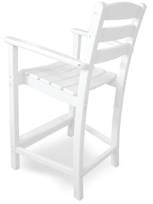 White POLYWOOD TD201WH La Casa Caf/é Counter Arm Chair