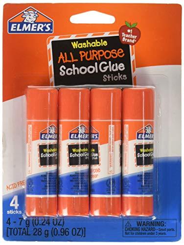 Elmer's Washable School Glue Sticks, .24 oz, Repositionable Stick, 4/Pk- EPIE542 ()