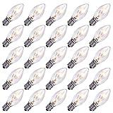 Christmas Lights 25 Pack C7 Outdoor String Light Replacement Bulbs, C7/E12 Candelabra Base, 5 Watt-Clear
