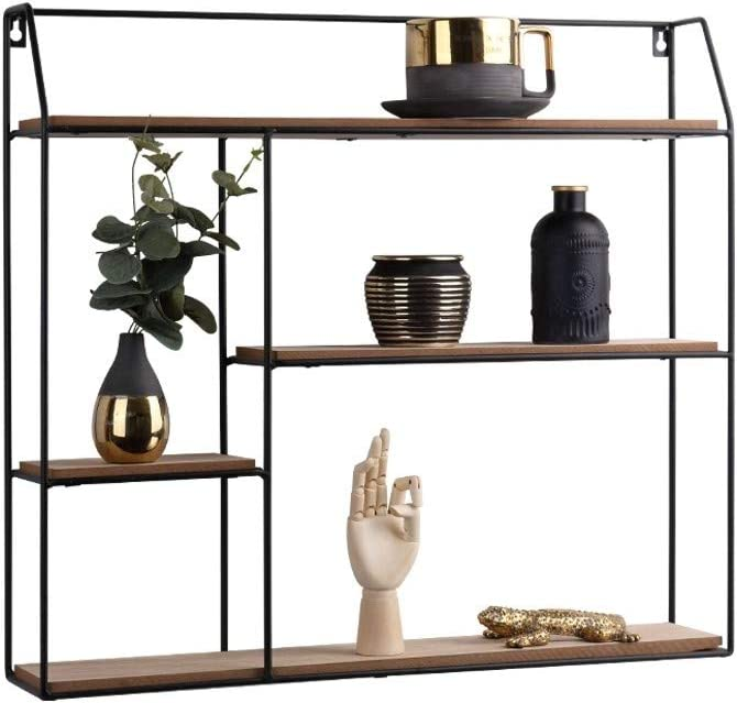 LIFA LIVING Estantería de Pared con 4 estantes, Metal y Madera, Diseño Vintage, para Libros, Fotos, Botellas, Premontada, Forma Cuadrada, 58 x 11 x 52 cm