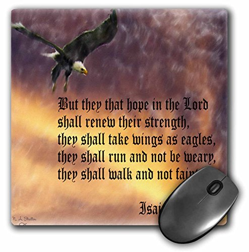 3dRose LLC 8 X 8 X 0.25 Inches Isaiah 40-31 Bible Verse with Eagle Against a Troubled Sky Mouse Pad (mp_27419_1) ()