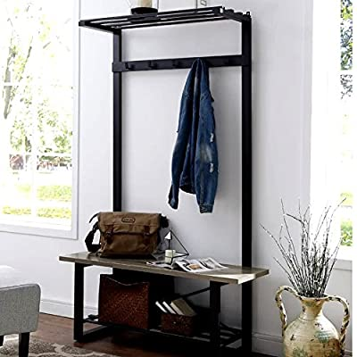 Entry Bench Hall Tree, Gray Minimalist Corner Entryway with Storage Bench, Rustic Contemporary Hall Tree & E-Book - The Entry Bench Hall Tree organization has never looked so chic. Scarves and hats, with a drawer to hide your umbrellas or bags and a shelf to place your shoes. The contemporary color with sturdy metal legs will surely complement your design aesthetic while providing a completed look in your home. Your House will look awesome with this new feature, and none of your friends will believe where you got it from! Here In our Store Center, you will find many Intriguing things that can upgrade your life! Buy it Before It Depletes and make your house unique! Only a few are Left! - hall-trees, entryway-furniture-decor, entryway-laundry-room - 514oKPXn%2BmL. SS400  -