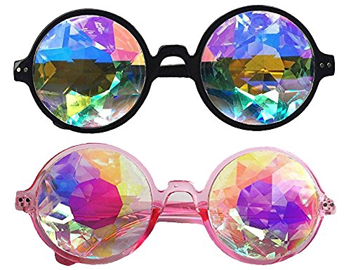 Festivals Kaleidoscope Glasses for Raves - Goggles Rainbow Prism Diffraction Crystal Lenses (One Size-Adjustable head band, Black+Pink)