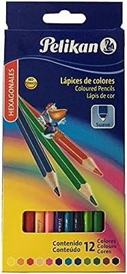 Pelikan 10012213 - Estuche con 12 lápices de colores, cuerpo hexagonal: Amazon.es: Oficina y papelería