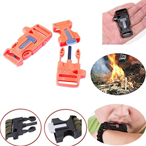 Whistle Buckle, WOVTE 1.8 x 0.75 Inch Whistle Buckles with Flint Fire Starter and Striker for Paracord Bracelet Orange Pack of 10