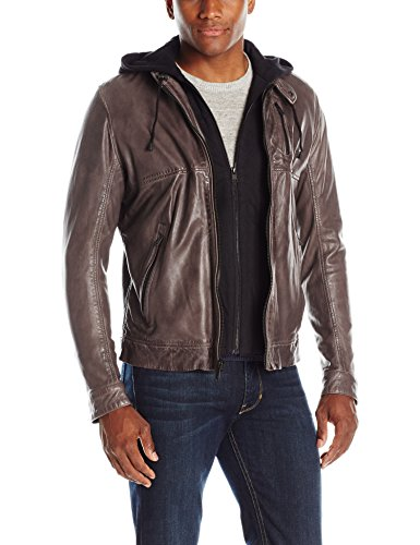 LAMARQUE Men's Slayer Washed Lambskin Leather Biker Jacket with Removable French Terry Hoodie, Infinity, Medium (Biker Washed Leather Jacket)
