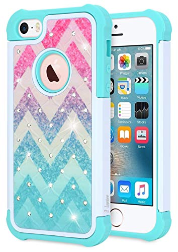 iPhone 5/5S/SE Case, NageBee Glitter Diamond Hybrid Protective Armor Soft Silicone Cover with [Studded Rhinestone Bling] Design Sparkle Shiny Girls Cute Case -Wave