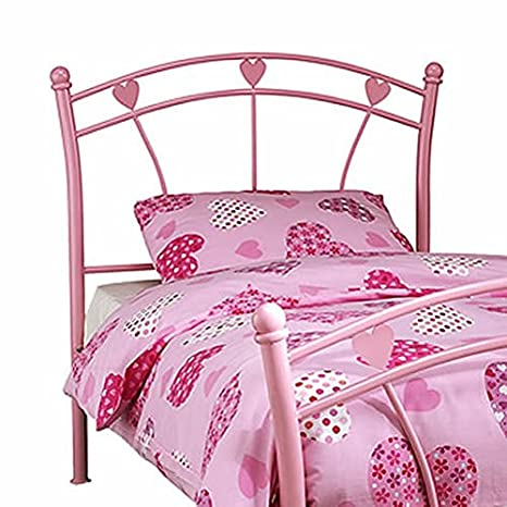 Furniture Single Girls Pink Heart Metal Bed Frame Aesthetic Appearance