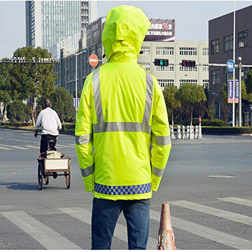 GSHWJS- trash can Reflective Cotton Jacket Winter Traffic Duty Warning Safety Jacket Detachable Cotton Suit, Green Reflective Vests (Size : S) by GSHWJS- trash can (Image #7)