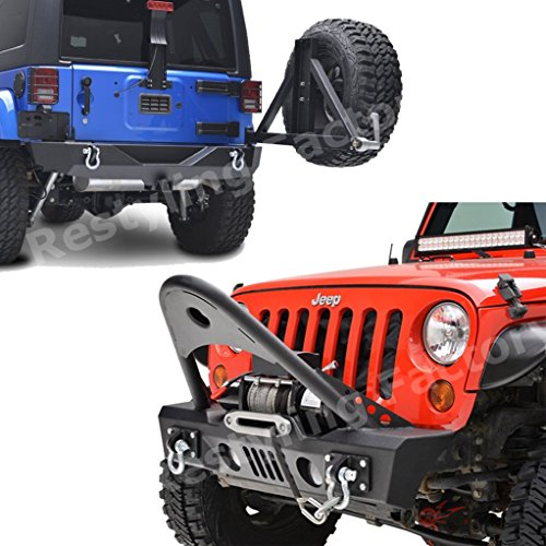 Restyling Factory Jeep Wrangler JK Stinger Front and Rear Bumper with Tire Carrier and Extra Options