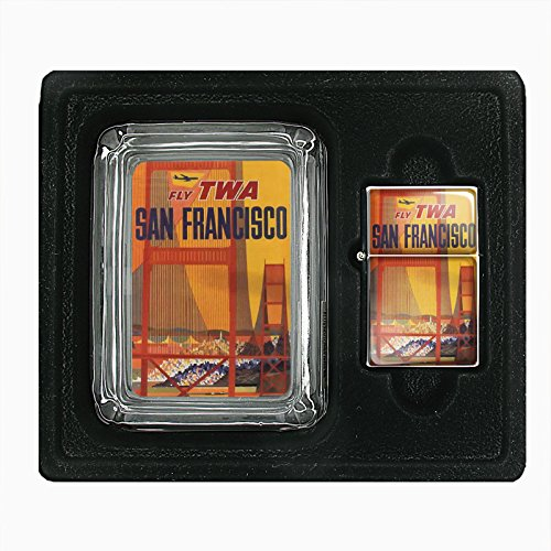 glass-ashtray-oil-lighter-gift-set-vintage-poster-d-099-fly-twa-san-francisco-airlines