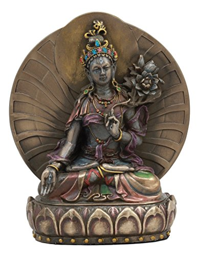 Ebros Arya White Tara Seated On Lotus Throne Statue 6.5
