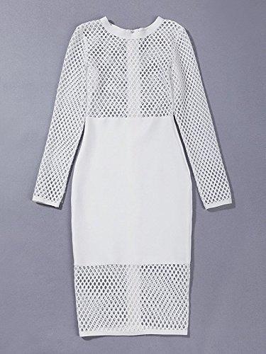HLBandage Women Long Sleeve Net Knee Length Bandage Dress Blanco