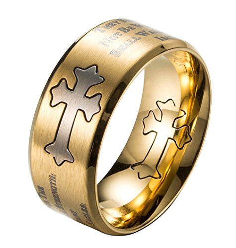 ALEXTINA Men's 9MM Bible Verse Isaiah 40:31 Stainless Steel Christian Purity Cross Ring Beveled Edges Gold Size 9