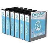 "Easyview® Premium, Angle D Ring, Customizable, View Binder, 6 Pack (Black, 2"")"