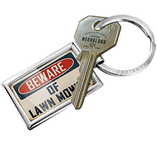 NEONBLOND Keychain Beware Lawn Mower Vintage Funny Sign (John Key Ring Deere)