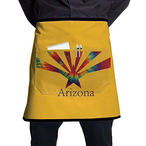 Tie Dye Arizona State Flag Restaurant Cooking Kitchen Half Body Waist Aprons Sewing Pocket Apron -