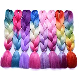 Braiding Hair Extensions Japanese Fiber Braids 24 Inch 100G/Pc Females Purple Pink Crochet Hair #1 24inches