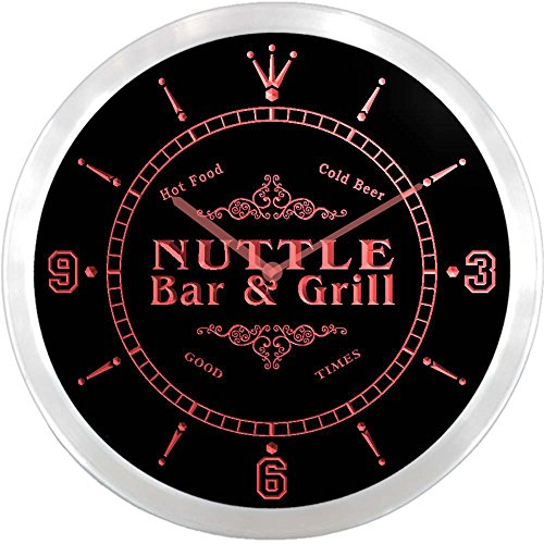 ncu32904-r NUTTLE Family Name Bar & Grill Cold Beer Neon Sign LED Wall Clock
