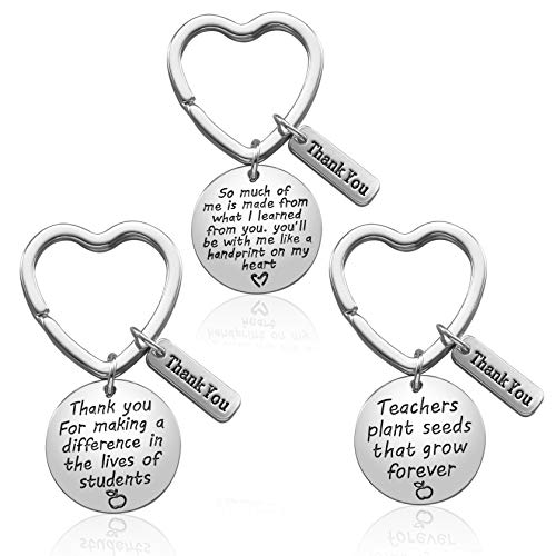 Teacher Appreciation Gifts for Women, 3PCS Heart Pendant Keychain Jewelry Set, Thank You Gift Graduation Gift for Teachers