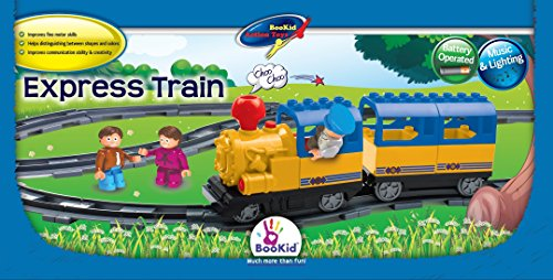 Building Blocks Express Train Set with Battery Operated Locomotive with Sound and Lights