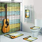 Philip-home 5 Piece Banded Shower Curtain Set Guitar on Wood Decorate The Bath