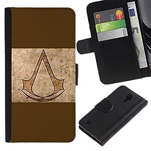 JackGot ( Asesinos de Brown ) Samsung Galaxy S4 IV I9500 la tarjeta de Crédito Slots PU Funda de cuero Monedero caso cubierta de piel